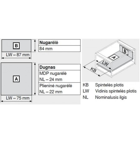 Tandembox stalčiaus sistema